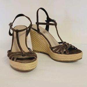 Colin Stuart Espadrille Brown Strap Heels 6.5